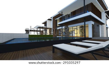 3D render of building isolated on white background with clipping path. Night perspective of modern house with lighting effect.
