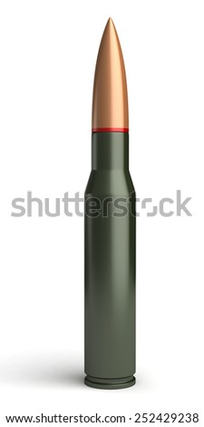 3d render of bullet on white background - stock photo