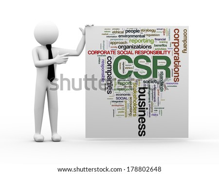 3d render of business person with wordcloud word tags of csr - corporate social responsibility