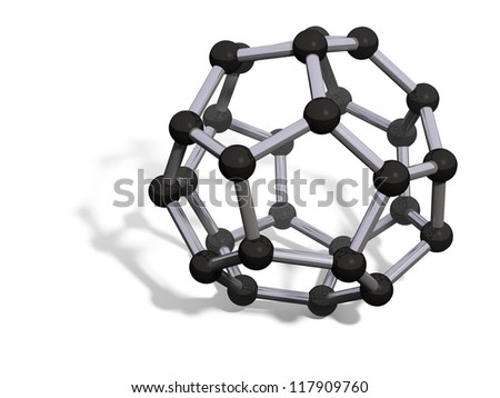 3d render of C28 carbon fullerene with soft shadow isolated on white