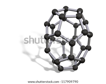 3d render of C30 carbon fullerene with soft shadow isolated on white