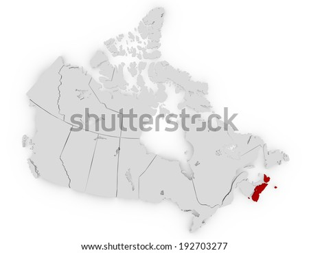 3d Render of Canada Highlighting Nova Scotia