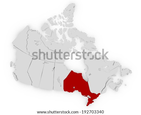 3d Render of Canada Highlighting Ontario - stock photo