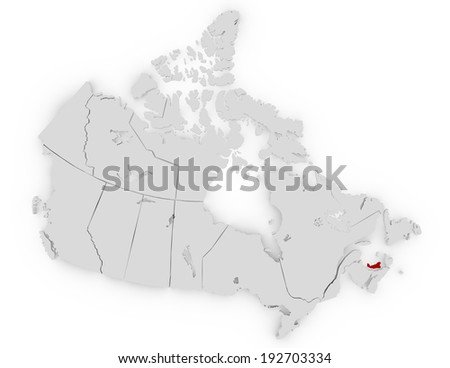 3d Render of Canada Highlighting Prince Edward Island
