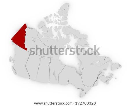 3d Render of Canada Highlighting Yukon - stock photo