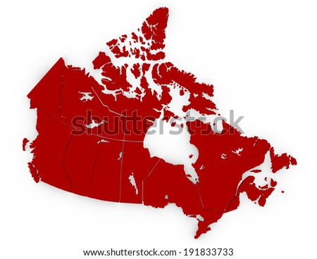 3d Render of Canada Separated in Provinces