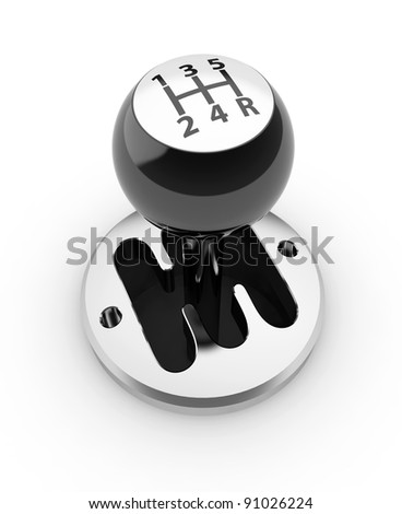 3d render of car shift gear on white background - stock photo