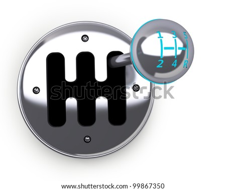 3d render of car shift gear on white background 3d High resolution. - stock photo