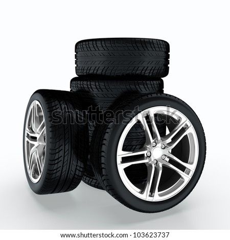 3D render of car wheels stack on white background