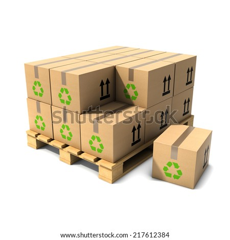 3d render of cardboard boxes on a wooden pallet - stock photo