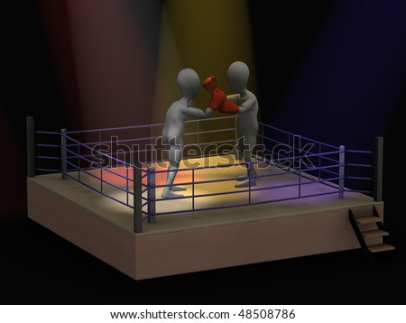 3d render of cartoon character boxing - stock photo