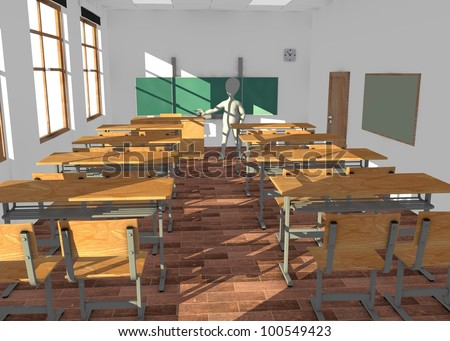 3d render of cartoon character in classroom teaching