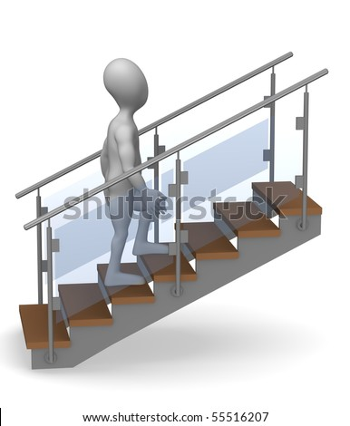 3d render of cartoon character on stairs