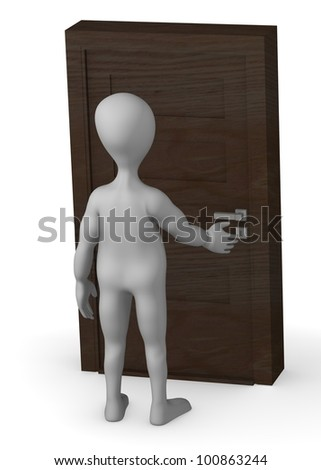 3d render of cartoon character opening door