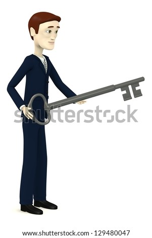 3d render of cartoon character with big key