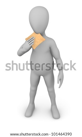 3d render of cartoon character with biscuit