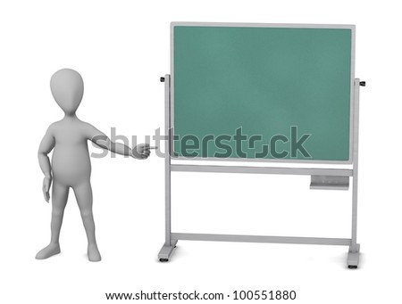 3d render of cartoon character with blackboard