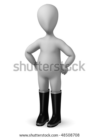 3d render of cartoon character with boots