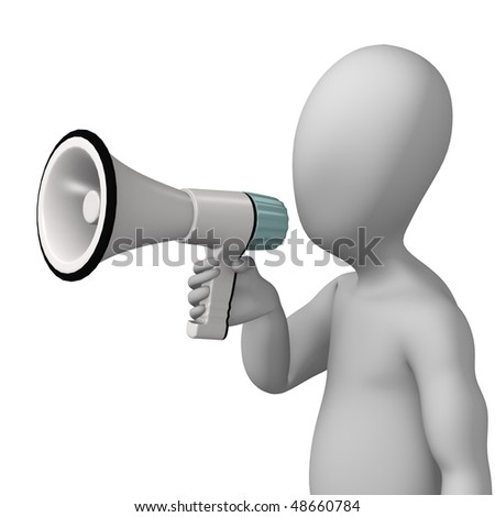 3d render of cartoon character with bullhorn