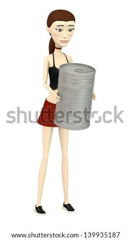 3d render of cartoon character with can
