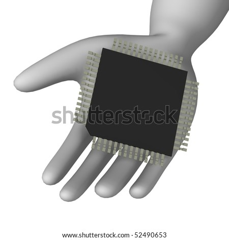 3d render of cartoon character with chip - stock photo