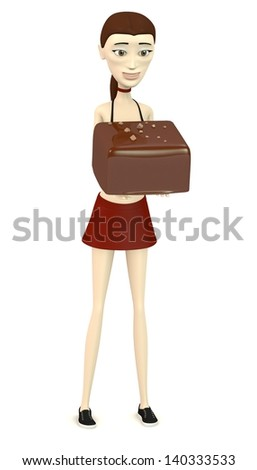 3d render of cartoon character with chocolate