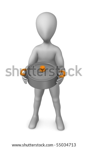 3d render of cartoon character with cooking pot - stock photo