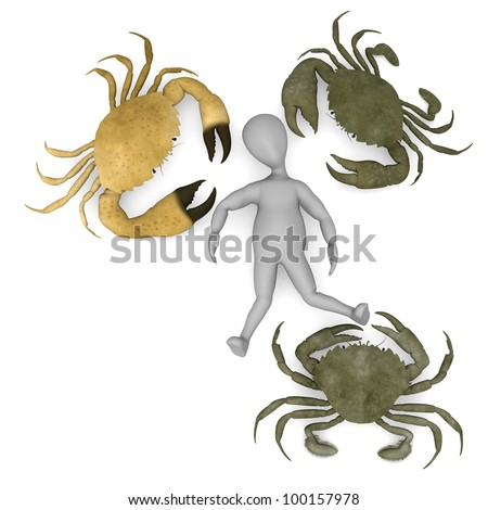 3d render of cartoon character with crabs - stock photo