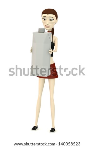 3d render of cartoon character with drink box