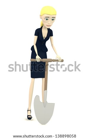 3d render of cartoon character with field shovel