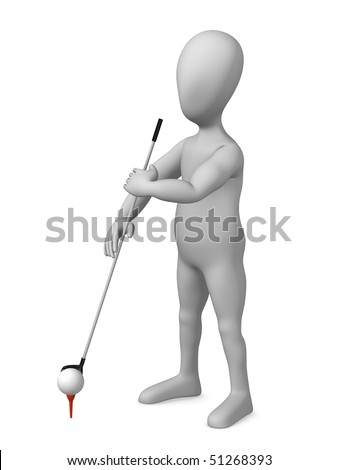 3d render of cartoon character with golf pole