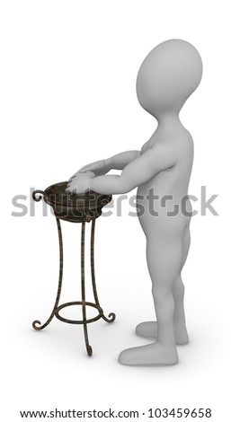 3d render of cartoon character with hand basin - stock photo