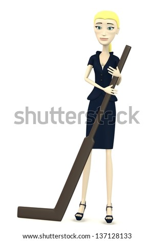 3d render of cartoon character with hockeystick