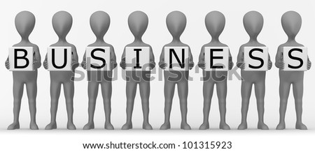 3d render of cartoon character with letters - business
