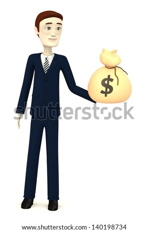 3d render of cartoon character with money bag
