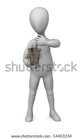 3d render of cartoon character with mortar