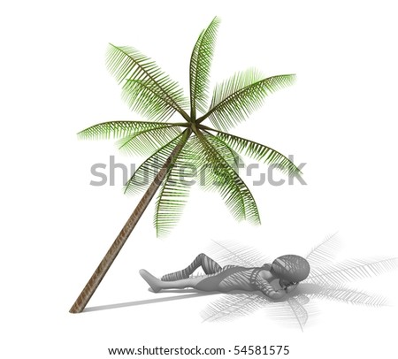 3d render of cartoon character with palm