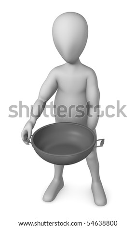 3d render of cartoon character with pan - stock photo