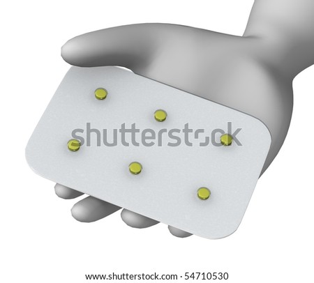 3d render of cartoon character with pill plate