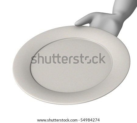 3d render of cartoon character with plate - stock photo