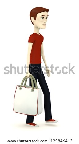 3d render of cartoon character with shopping bag