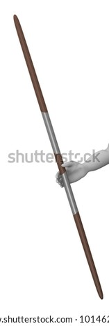 3d render of cartoon character with spear