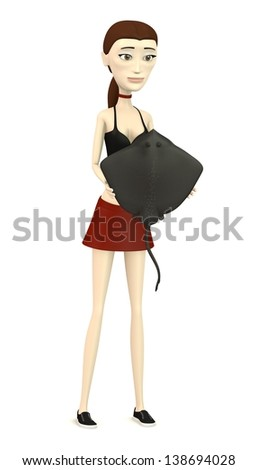 3d render of cartoon character with stingray