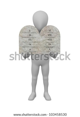3d render of cartoon character with ten commandments - stock photo