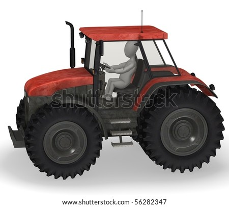 3d render of cartoon character with tractor machine