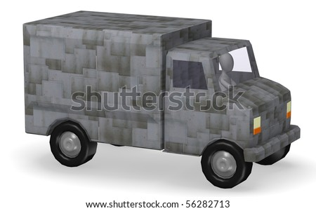 3d render of cartoon character with truck