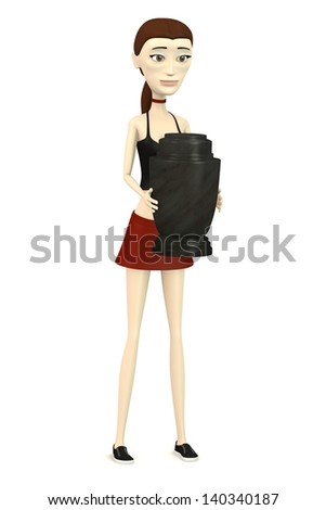 3d render of cartoon character with urn