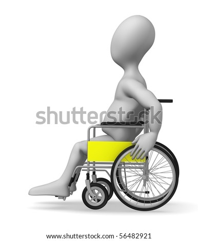 3d render of cartoon character with wheel chair - stock photo