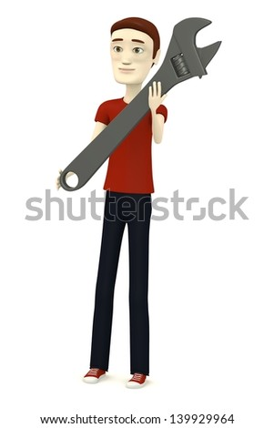3d render of cartoon character with wrench