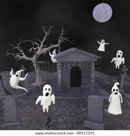 3d render of cartoon characters on cemetery